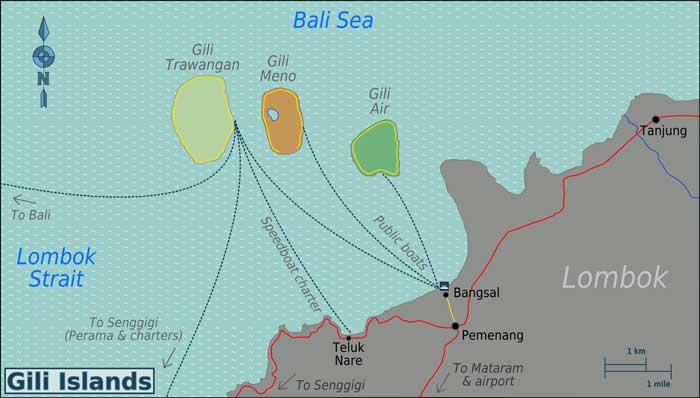 peta kepulauan gili lombok
