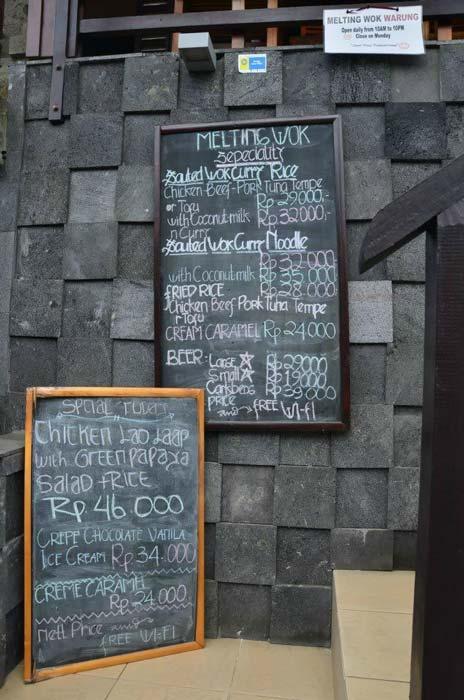 Menu Melting Wok Ubud Bali